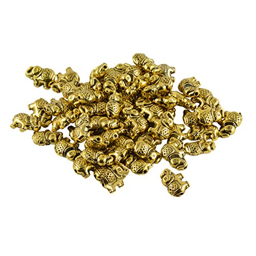MonkeyJack 50pcs Alloy Metal Elephant Charms For DIY Bracelet Connector Spacer Beads - Antique gold, as described