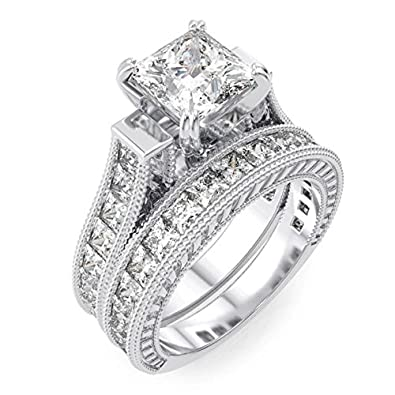 Amazon Com Princess Cut Wedding Band Engagement Ring Set In 925