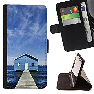 For Sony Xperia M2 - Lake Chalet /Funda de piel cubierta de la carpeta Foilo con cierre magn???¡¯????tico/ - Super Marley Shop -