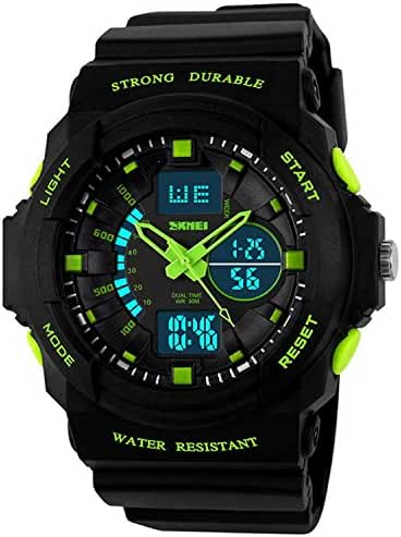 Fanmis Boys Multi-function Cool Sports Watch LED Analog Digital Waterproof Alarm Watches Green