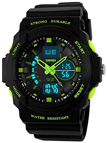 Fanmis Digital Fashion Cobra Men's LED Watch Silicone Iron Triangle Dial Sports Wristwatch (Green) ()