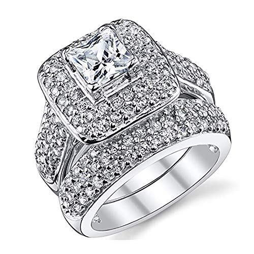 Double Fair Women's Gorgeous Promise Wedding Ring 2 Piece Sets Engagement Bridal Band White Gold Plated (6)