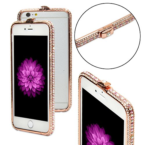 Rhinestone Iphone (Phone 6/6s Plus Case for Girls , Crystals Diamond Sparkle Jeweled Metal Frame ,100% Handcrafted, Luxury Rhinestone Bling Bumper Cover for iPhone 6/6s Plus iPhone 7 Plus Silver 5.5)