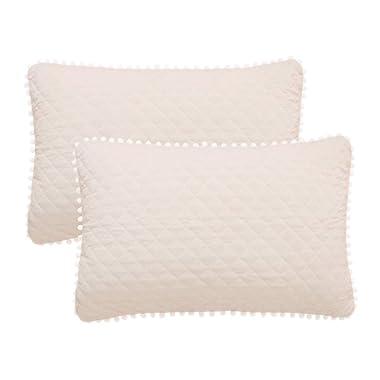 LIFEREVO 2 Pack Diamond Quilted Crystal Velvet Mink Pillowcases Pompoms Fringe Zipper Closure (Standard/Queen Light Beige)