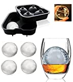 Whiskey Rounders Ice Ball Maker Makes 4 Large (2.5 Inch) Ice Spheres At Once, Odorless BPA Free FDA Grade Silicone, Innovative Design Makes Ice Ball Removal Easy , Ice Cube Tray Ball Maker for Bar Accessories Juice Whiskey Cocktail Drinks, Ice Ball Makers for Fridge , Ice Trays