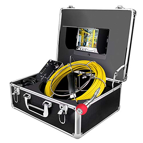 Endoscope Camera, 50M/165ft Pipe Camera 7 inch LCD Monitor Scope Camera Duct HVAC 1000TVL Sony CCD Borescope Sewer Camera Waterproof IP68 Pipeline Inspection Snake Cam (7D1N-50M-With DVR) (Sewer Snake Camera)