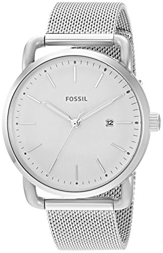 (Fossil Women's The Commuter Quartz Stainless Steel Mesh Casual Watch, Color: Silver-Tone (Model: ES4331))