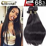 QTHAIR 10A Indian Virgin Hair Straight Human Hair(18 20 22 24,400g)100% Unprocessed Straight Indian Virgin Hair Weave Natural Black Color Indian Strai
