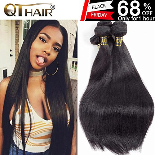 QTHAIR 10A Indian Virgin Hair Straight Human Hair(18 20 22 24,400g)100% Unprocessed Straight Indian Virgin Hair Weave Natural Black Color Indian Strai by QTHAIR