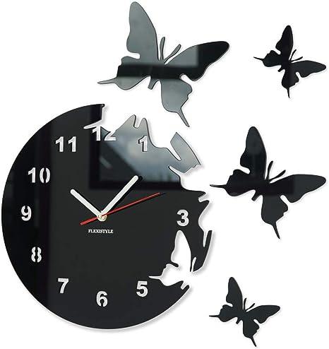 FLEXISTYLE Reloj de Pared Redondo Mariposas Negro 30 cm habitacion de Salon Estilo Moderno 3D silencioso: Amazon.es: Hogar