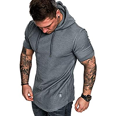 Men'Hoodie Short Sleeve Shirt Slim Fit Casual Blouse Fashion Solid Sport Casual Plus Size Tops by SFE at  Men's Clothing store