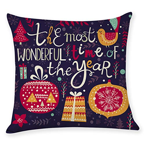 MIS1950s Merry Christmas Throw Pillow Cover Gifts Santa Claus Decorative Pillowcases Home Decor Flax 18 x 18 Cushion Cover for Sofa Bed - Flax Car