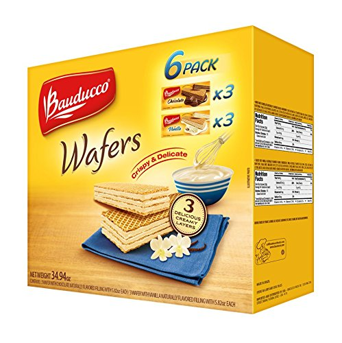(Bauducco Wafers Cookies 6 Pack, Chocolate & Vanilla Crispy and Delicious Breakfast, Snack, Dessert, Care Package, School Lunch, 39.94 oz.)