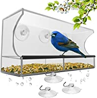Window Bird Feeder with Strong Suction Cups and Seed Tray, Outdoor Birdfeeders for Wild Birds, Finch, Cardinal, and...