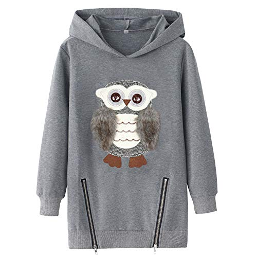 Hoodies for Big Girls Youth Kids Pullover Hooded Fuzzy Cute Owl 14-16 12-14
