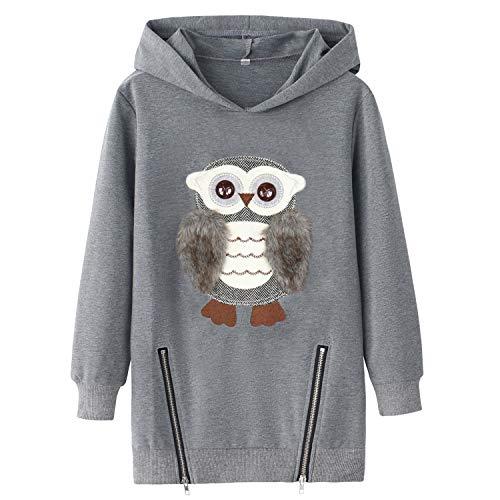 AuroraBaby Big Girls Hoodies Sweatshirts Adorable Fuzzy Owl Pullover Long Sleeve Size 7 8
