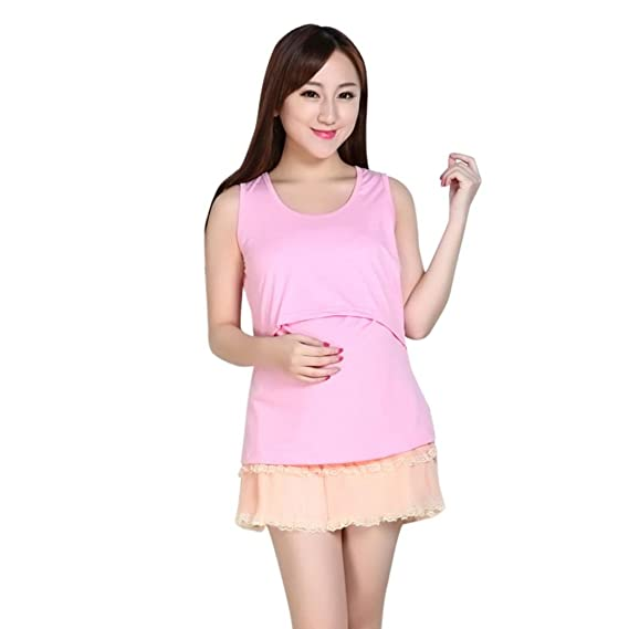 Gusspower Lactancia de maternidad para mujeres, Camiseta de Sin Mangas Embarazada Cuello Redondo Color Bloque Verano Ropa Doble capa blusa camiseta para ...