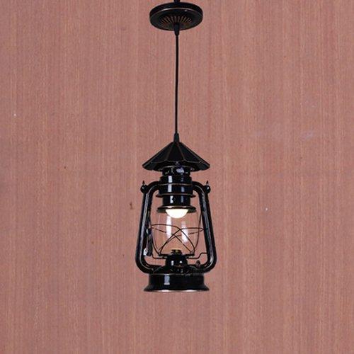 Adsled Adison E27 Drop Light Vintage Chandelier Dining Ceiling Pendant Light Creative Bar Cafe Fairy Lampshade Lamp Barn Lantern (Black) (Rope Black Tiffany)