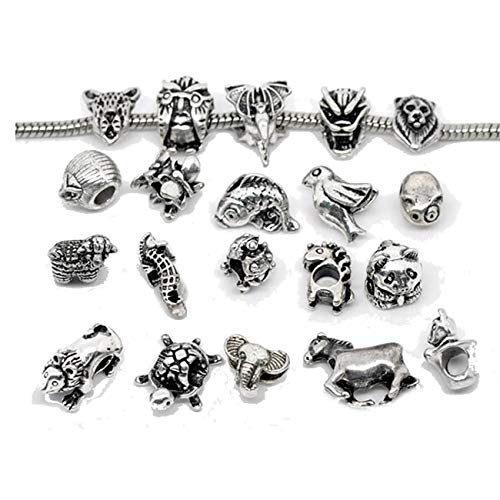 SEXY SPARKLES Ten Assorted Animal Charm Beads for Snake Chain Charm Bracelet