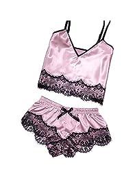 FINENICE Womens Sexy Satin Sling Sleepwear Lingerie Lace Bowknot Nightdress Underwear