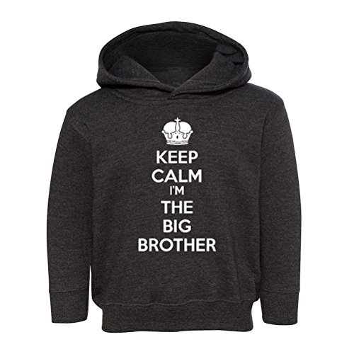 Mashed Clothing Kids Keep Calm I'm The Big Brother Hooded Sweatshirt (Vintage Smoke, (Big Brother Hooded Sweatshirt)