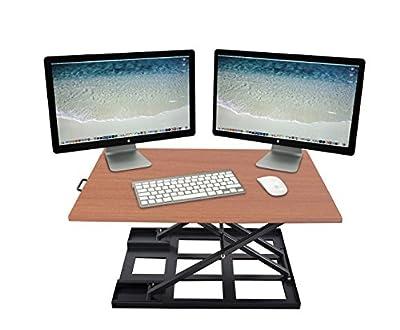 Standing Desk Converter-INNOVADESK 32x22 inch-Basics height adjustable desk-Sit Stand Desk Converter Workstation- Sit Stand Computer Riser-The Best Adjustable Standing Desktop-Full Assembled- Brown
