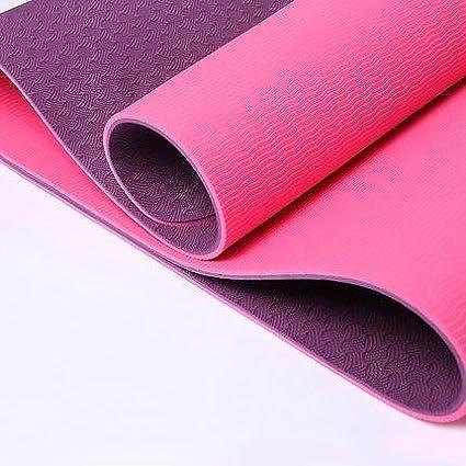 New Global Yoga MAT - ECO - Friendly - TPE Twin Color Yoga Mat - Purple + Pink - 100% Thermoplastic Elastomer