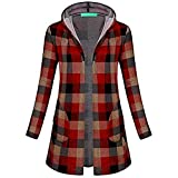 WOCACHI Final Clear Out Womens Plaid Outerwear Long Sleeve Hooded Open Front Coat with Pockets Black Friday Cyber Monday Sweatshirt Autumn Bottoming Shirts Checkered Lattice (Red, Small)