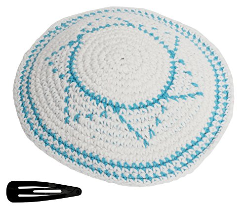 Star Of David Knit Yarmulke Jewish Kippah And Clips Kipa Judaica Yamaka Kippa Yamakah Magen Yarmulka Hat Men Or Kids Israel Jerudalem (White & Blue Star)