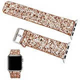 For Apple Watch Band 42mm Women, Moonooda Bling Glitter Leather Replacement Bands for Apple Watch Series 1, Series 2, Series 3, Sports & Edition (Rose Gold & Silver)