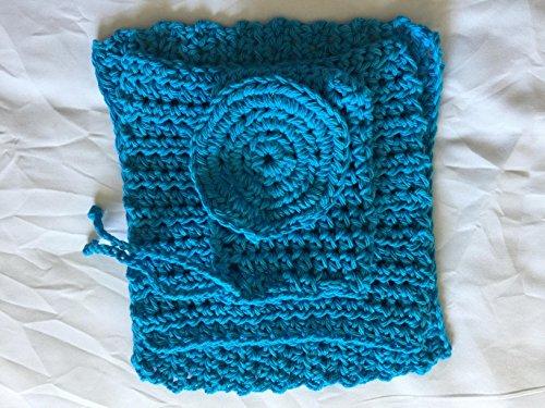 Handmade Cotton Crochet Washcloth Dishcloth Four Piece Turquoise Set