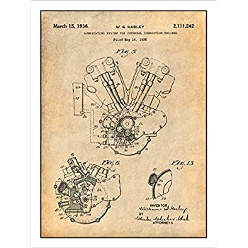 amazon com 1936 harley davidson knucklehead engine motorcycle rh amazon com Knucklehead Harley Engine Panhead Drawing Knucklehead Engine Schematic