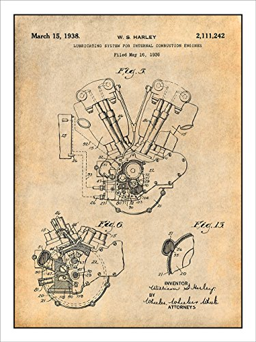1936 Harley Davidson Knucklehead Engine Motorcycle Patent Print Art Poster Unframed Parchment
