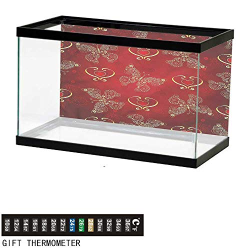 Suchashome Fish Tank Backdrop Maroon,Ornate Butterflies Hearts,Aquarium Background,36