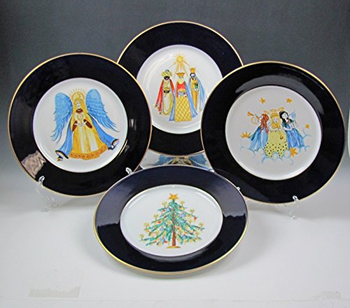 Lot of 8 Hutschenreuther China CHRISTMAS SCENES-COBALT RIM Dinner Plates EX