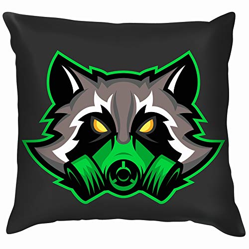 Gas Mask Raccoon Mascot Sport Esports Sports Recreation Soft Cotton Linen Cushion Cover Pillowcases Throw Pillow Decor Pillow Case Home Decor 12X12 Inch]()
