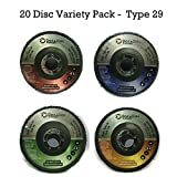 4.5 inch Flap Disc (20 Pack Assortment) 40/60/80/120 Grit Type 29 Professional Grade Zirconia Alumina Abrasive Grinding Wheel and Flap Sanding Disc by DocaDisc