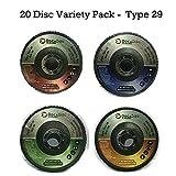 "4.5"" Flap Disc (20 Pack Assortment) – 40/60/80/120 Grit Type 29 Professional Grade Zirconia Alumina – Abrasive Grinding Wheel and Flap Sanding Disc by DocaDisc"