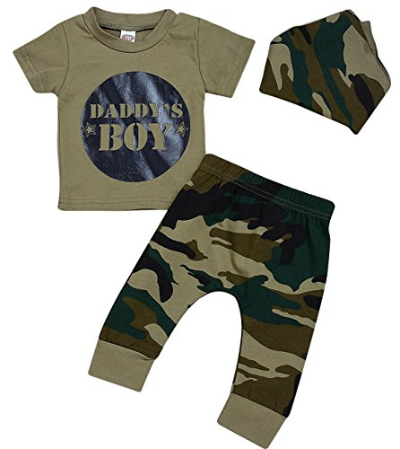 Tiny Dream Baby Girls Boys Daddy¡¯s Baby Camouflage Top Pants Set With Matching Kerchief Bib Boy 6-12M
