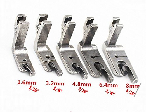CHENGYIDA 5 Size High Shank Industrial Single Needle Sewing Machines Foot Set : Scroll Hemmer Feet Foot 1/16