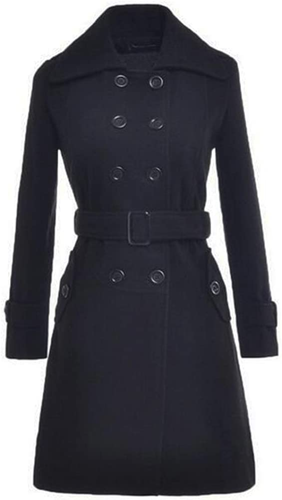 US0291 Black, M Beninos Womens Autumn Winter Double-Breasted Long Woolen Coat with Belt