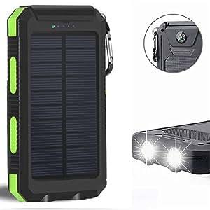 10000mAh cargador solar a prueba de golpes LED luz de emergencia USB doble puertos entrada, solar Power Bank con LED Linterna portátil cargador, paquete de energía solar de copia