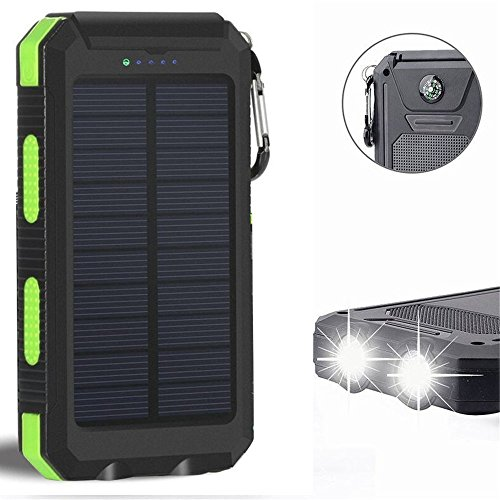 Solar Charger, Solar Power Bank 20000mAh External Backup Battery Pack Dual USB Solar Panel Charger with 2LED Light Carabiner Compass Portable for Emergency Outdoor Camping Travel (Green)