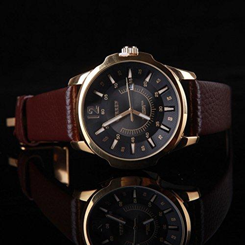 Men's Black Case Analog Sport Steel Fashion Quartz Leather Date Wrist Watch (Mens Watches Fossil Cheap)