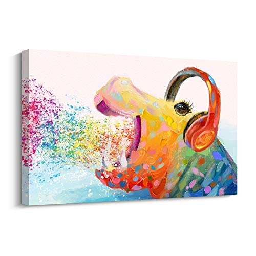 - Pi Art Large Contemporary Abstract Colourful Rainbow Hippo Painting on Canvas Print Wall Art Picture for Living Room Bedroom (36x24 in)