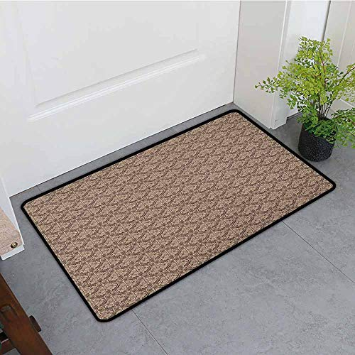 Antique Thin Door mat Venetian Vintage Flowers with Swirling Lines Renaissance Revival Curvy Tile Quick and Easy to Clean W19 x L31 Brown and Cocoa