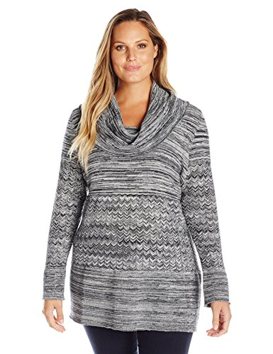 Heather B Women's Plus Size Cowl Neck Marled Tunic, Black/Ivory, 2X