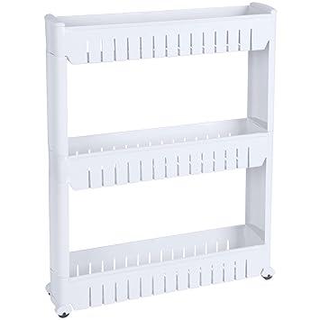 Promobo – Estantería de almacenaje con ruedas 3 alturas especial para pequeños espacio productos artículo: Amazon.es: Hogar