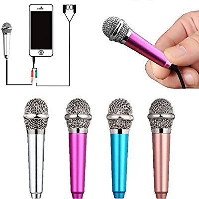 Kathy Universal Mini Microphone with Omnidirectional Stereo Mic for Voice Recording,Chatting and Singing on Apple Phone,Android Cellphones,Tablets,Laptops,Computers