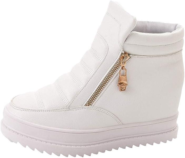 Botines Plataforma cuña para Mujer Invierno PAOLIAN Zapatos Escolares Casual Moda Calzado Suela Blanda Otoño Botas de Cuero Clásicos Señora Botas Zapatillas ...
